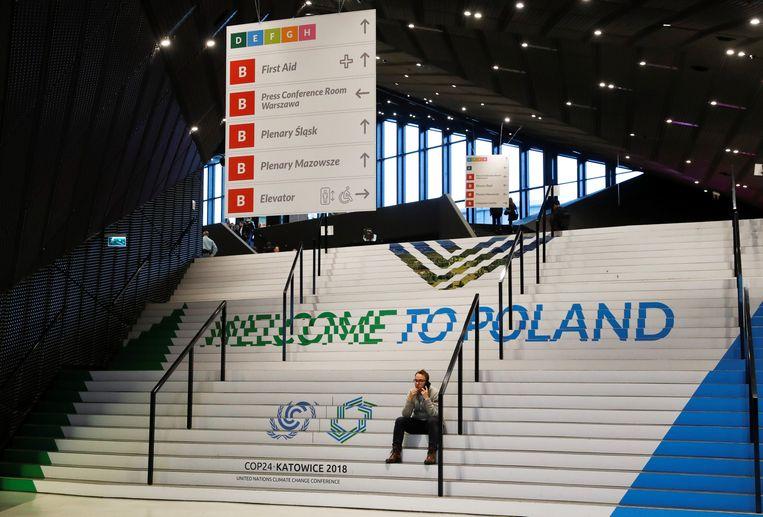 Het conferentiecentrum in Katowice, Polen, waar de klimaattop werd gehouden. Beeld REUTERS