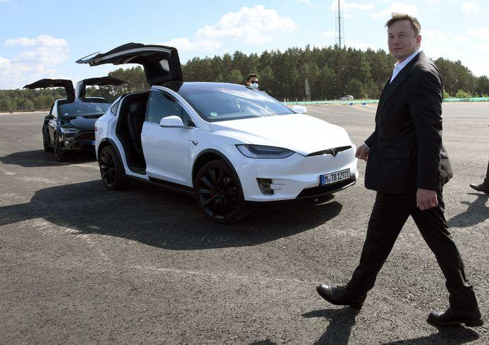 Elon Musk, begin september tijdens een bezoek aan de nog te bouwen Tesla-fabriek in Berlijn