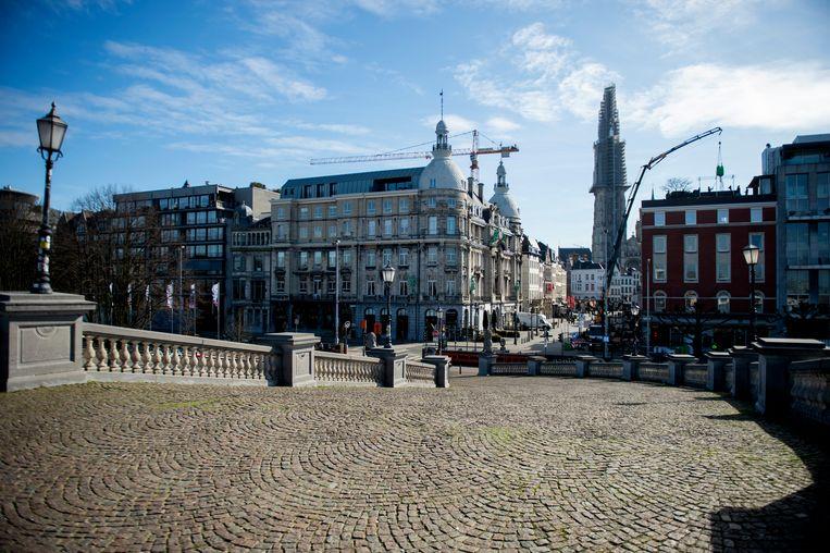 Verlaten straten in Antwerpen.