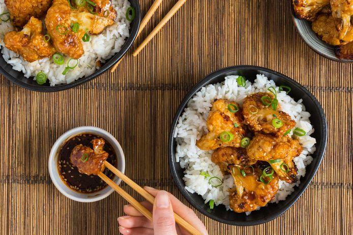 Sticky bloemkool met rijst