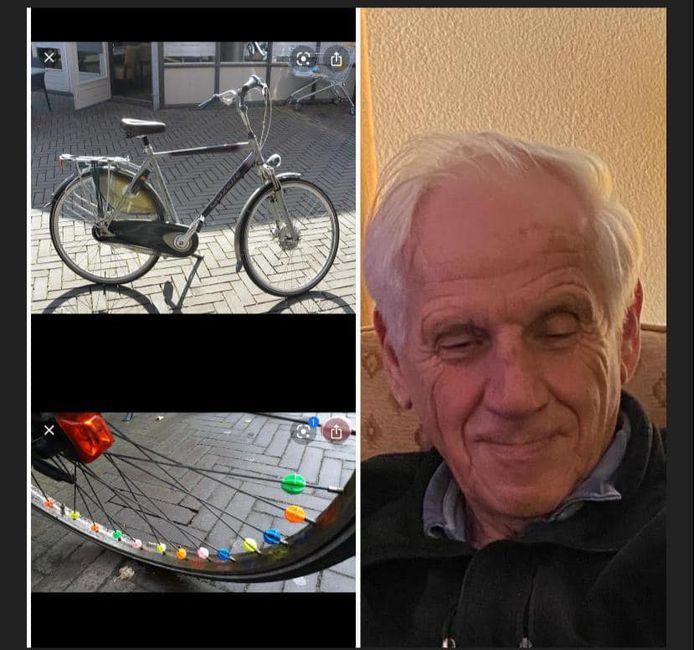 Fotocollage, met onder meer twee foto's van een soortgelijke fiets als die van Van Berkel.