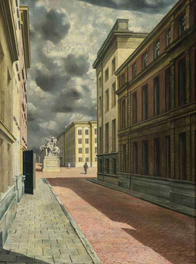 Carel Willink, Straat met standbeeld, 1934. Beeld Collectie Museum MORE-Kasteel Ruurlo ©Ms Sylvia Willink-Pictoright