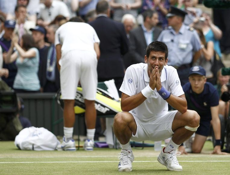 Djokovic na zijn overwinning op Nadal op Wimbledon in juli. Beeld reuters