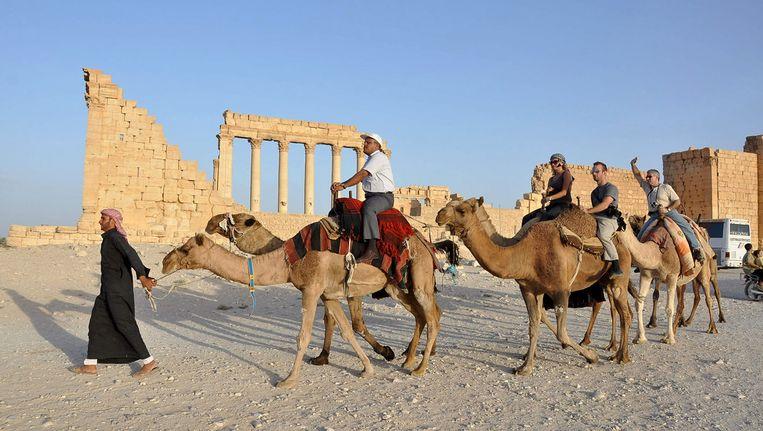 Toeristen op een kameel in Palmyra in 2010. Beeld reuters