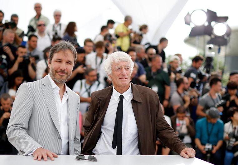 Regisseur Denis Villeneuve (links) en cameraman Roger Deakins op het Cannes Film Festival in 2015. Beeld EPA