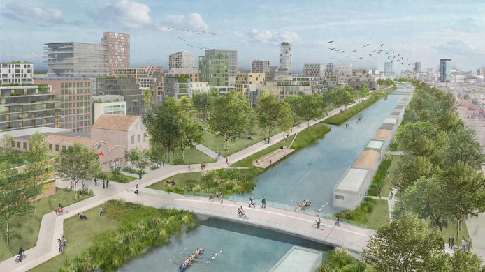Artist impression van de Merwedekanaalzone, het grootste nieuwbouwgebied van Utrecht.