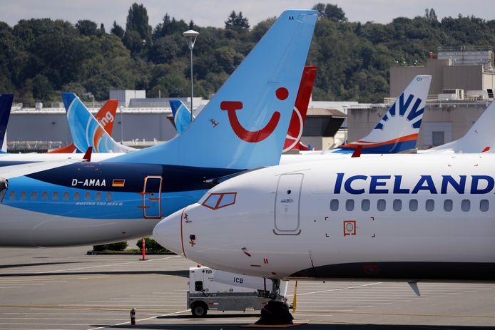 Enkele Boeing 737 Max-vliegtuigen geparkeerd in Seattle.