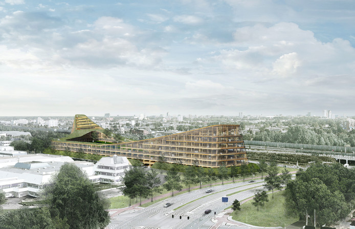 Het oude ontwerp van The Dutch Mountains toen het gebouw nog in Veldhoven zou komen te staan. Inmiddels worden plannen gemaakt voor de bouw in Eindhoven.