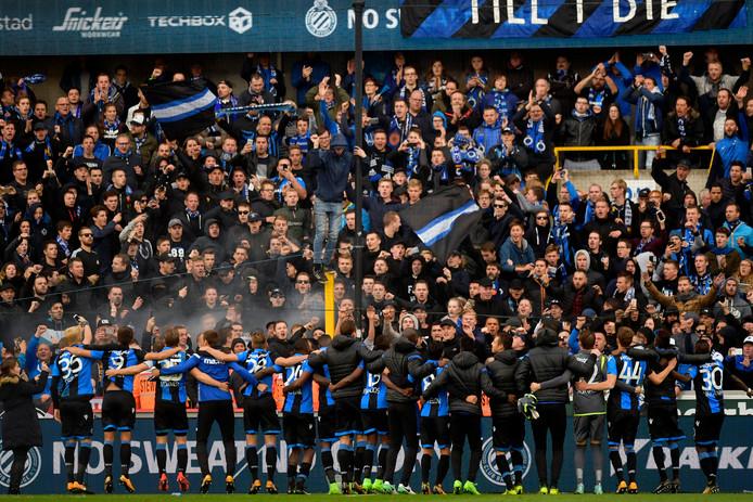 Feest na de overwinning van Club Brugge op Antwerp.