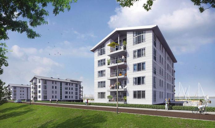Een artist impression van de te bouwen appartementen.