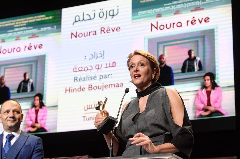 Hinde Boujemaa poseert met haar Tanit d'or.