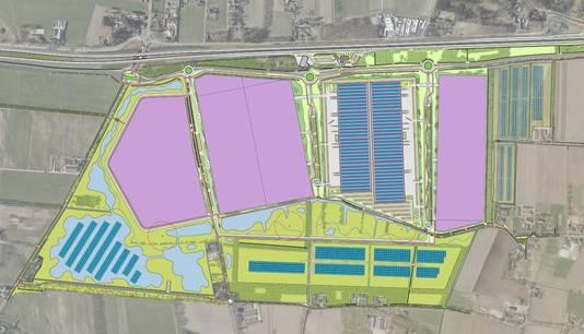 De toekomstige plattegrond met bedrijfskavels (paars), zonneparken en groen.