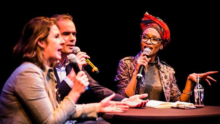 Mascha ten Bruggencate (D66), Laurens Ivens (SP) en Sylvana Simons (BIJ1) tijdens het verkiezingsdebat over de toekomst van Amsterdam Zuidoost. Beeld anp