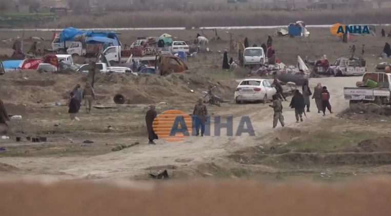 Het laatste bolwerk van IS in Baghouz, in Syrië.