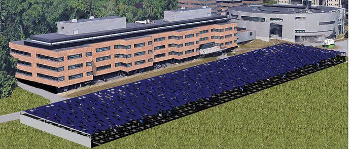 Het grote parkeerterrein krijgt een bijzonder dak.