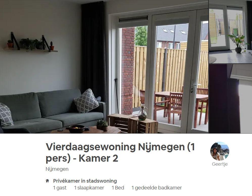 Een van de slaapplekken die via Airbnb in Nijmegen worden aangeboden.