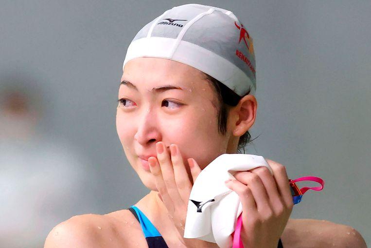 Rikako Ikee na de 50 meter vrije slag, haar eerste race na 594 dagen.  Beeld AP