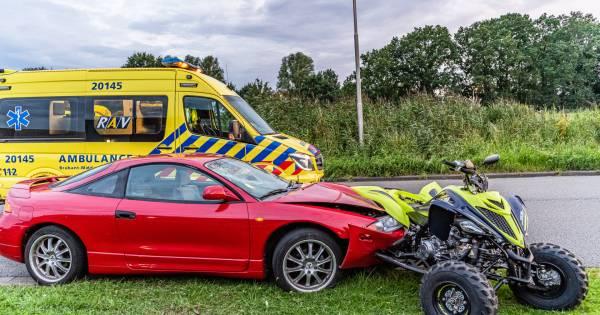 Misverstand op de weg in Tilburg: bestuurder die quad pas drie dagen heeft wordt aangereden en raakt gewond.