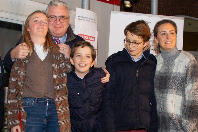 Vlnr: prinses Louise, prins Laurent, prins Aymeric, prins Nicolas and prinses Claire in 2018