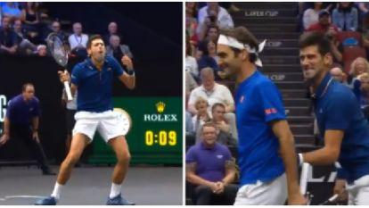 Tenniswereld ziet hoe Federer en Djokovic géén topduo zijn in dubbelspel (en dat beseft Serviër na dit moment maar al te goed)