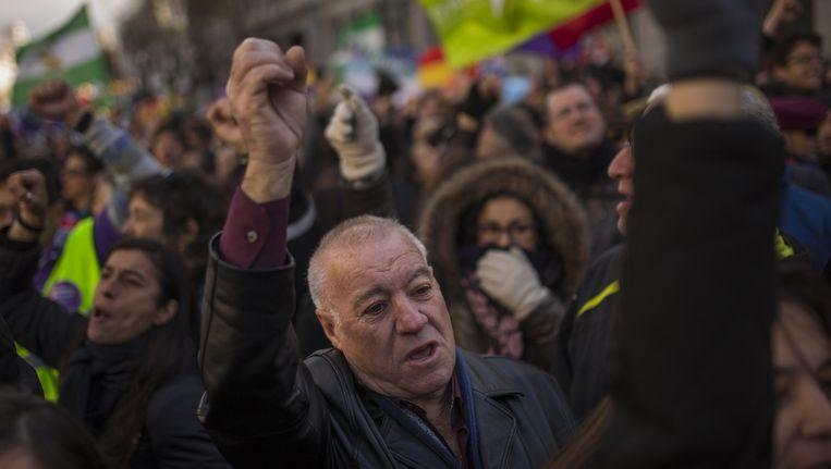 Demonstranten in Madrid Beeld ap