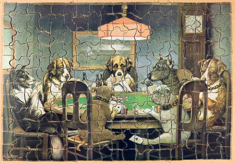 Een puzzel met pokerende honden van de Amerikaanse kunstenaar Cassius Coolidge. Beeld Coll. G. Bekkering/foto Hans van den Bogaard
