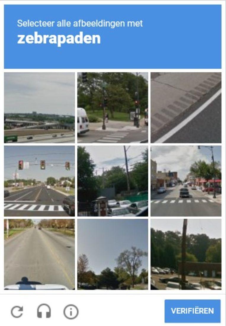 Met  reCAPTCHA's zoals hierboven verifiëren websites of u niet stiekem een robot bent. En passant programmeert u daarmee zelfrijdende auto's om geen zebrapaden te negeren of brandkranen frontaal te rammen. Beeld Een captcha van reisplanner 9292.nl.