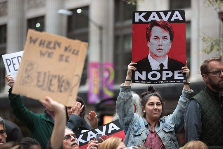 Activisten demonstreren in de VS tegen de benoeming van Brett Kavanaugh als opperrechter. Beeld AFP