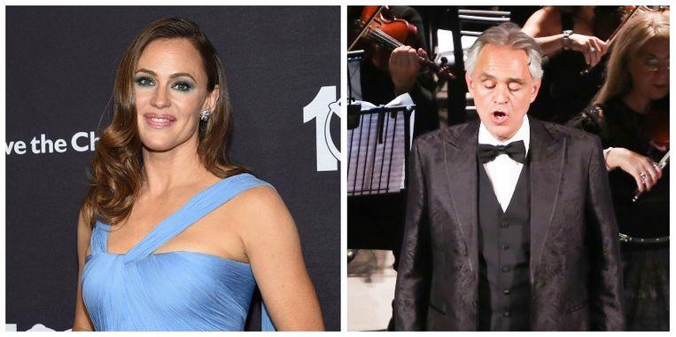 Jennifer Garner (links) en Andrea Bocelli (rechts).