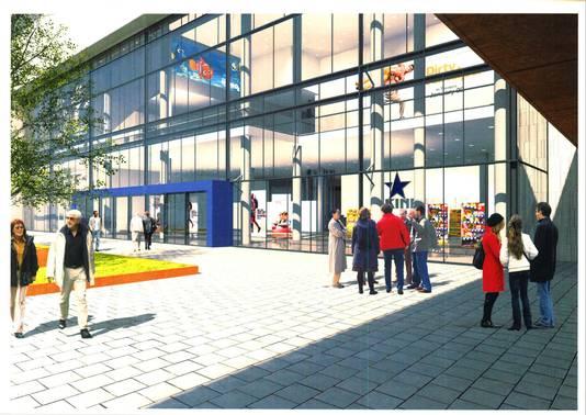 Impressie nieuwbouw bioscoop Kinepolis in het Paleiskwartier in Den Bosch
