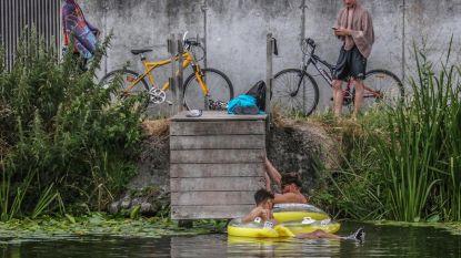 Bordjes tegen wildzwemmers in kanaal
