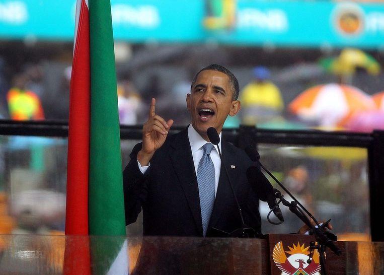 Obama tijdens zijn speech. Beeld getty