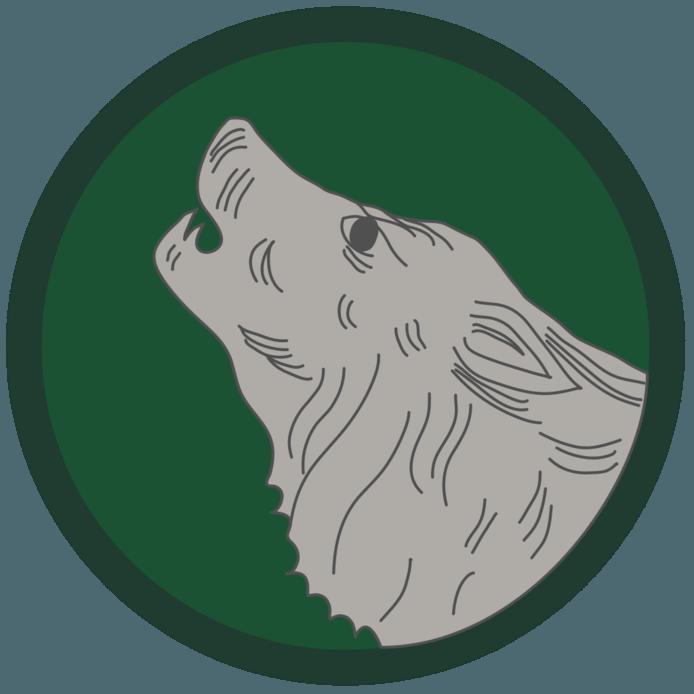 Het logo van de Timberwolves Brigade