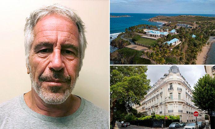 Pedofiel/miljardair Jeffrey Epstein en de locaties waar hij zijn minderjarige slachtoffers verkrachtte.