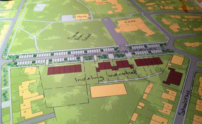 De bruine vlakjes zijn ca. 30 nieuwbouwwoningen