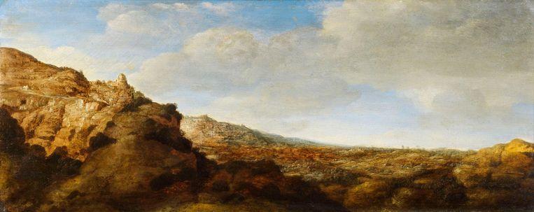 Berglandschap, paneel, 25.7 x 64.1 cm, ca. 1625-30. Beeld privé-collectie
