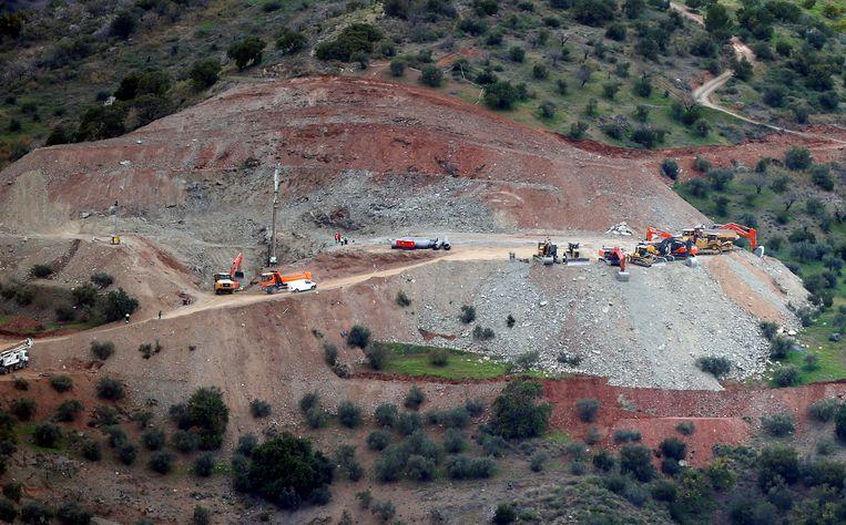 De plek bij het bergdorp Totalán waar de tunnel wordt gegraven die toegang moet geven tot de put waarin Julen precies een week geleden verdween.