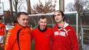 Drie Roemeense arbeidsmigranten spelen in het tweede elftal van SC Welberg. V.l.n.r. Levi Papp, de echtgenoot van Piroska, Cristian Celga en Csaba Balint.