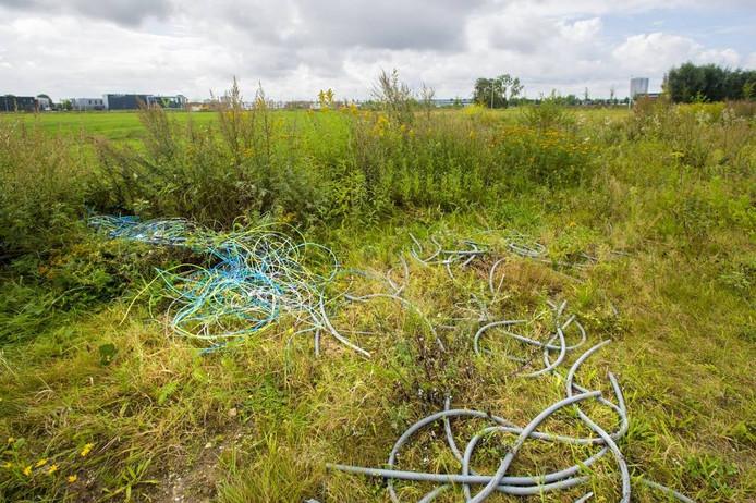 De gedumpte kabels langs de Laan van de Stier in Zuidbroek.