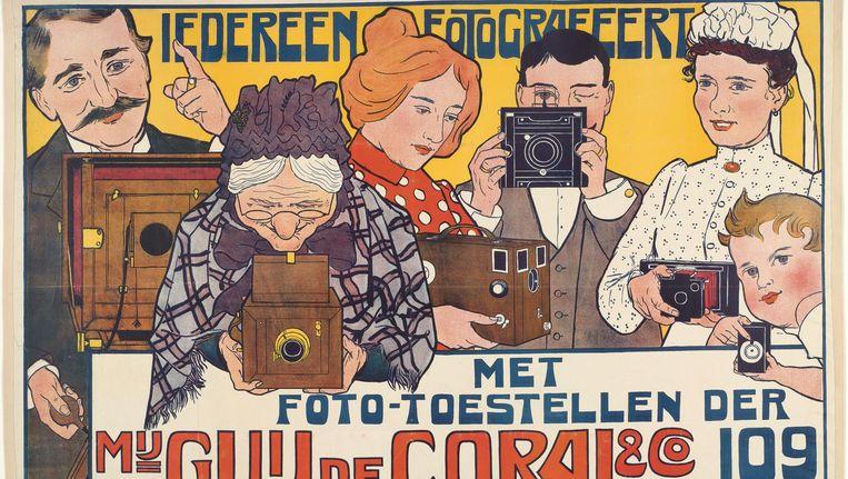 Johann Georg Caspel: Affiche 'Iedereen fotografeert' van de firma Guy de Coral & Co, 1901. Beeld null