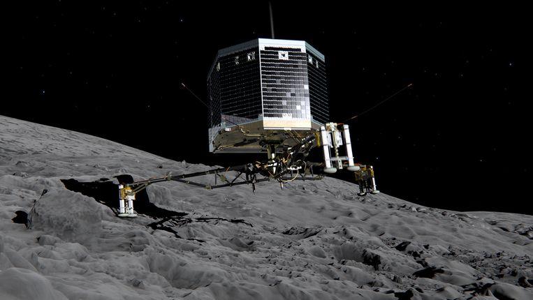 Artist's impression van de landing van Philae op komeet 67P/Churyumov-Gerasimenko. Beeld ESA/ATG medialab