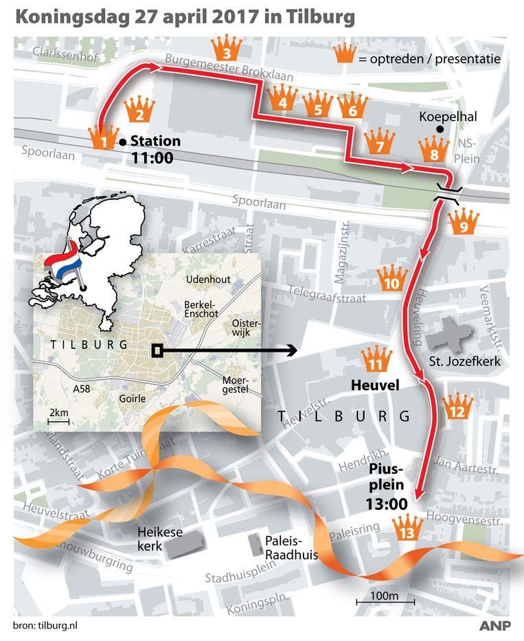 De route die het koninklijke gezelschap aflegt in Tilburg. Beeld ANP
