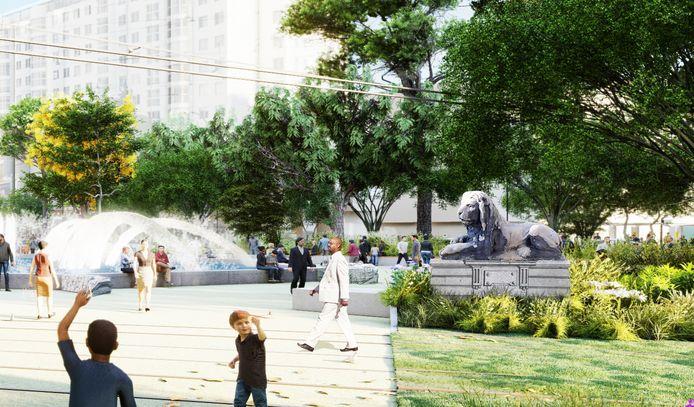 De Rotterdamse Dromers bewerkten de impressie van het vernieuwde Hofplein van bureau Juurlink [+] Geluk. Eén van de leeuwen houdt stoer de wacht bij de fontein.