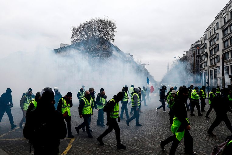 'Gilets jaunes' in Parijs.