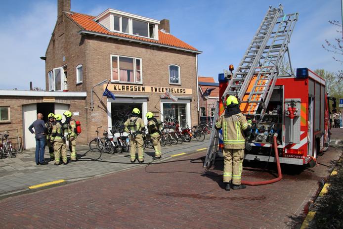 Brand in fietsenwinkel.