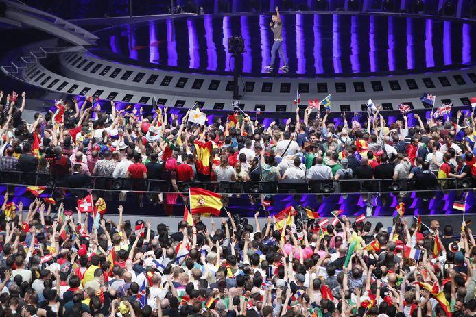 Enthousiast publiek tijdens het Eurovisie Songfestival 2018.