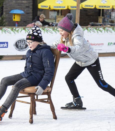 Zwieren op de schaatsbaan van het Henri Dunantplein in Nijverdal