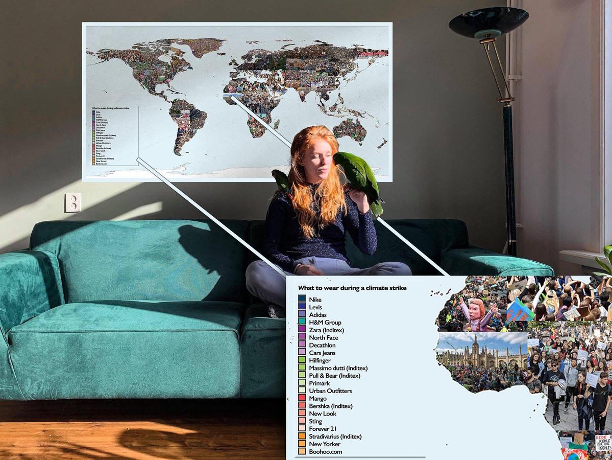"""Wie op graphdude.com een kopie van het kunstwerk aanschaft, steunt daarmee indirect het klimaat. ,,Want mijn vriendin kan dankzij de opbrengst mijn kleding blijven maken."""""""