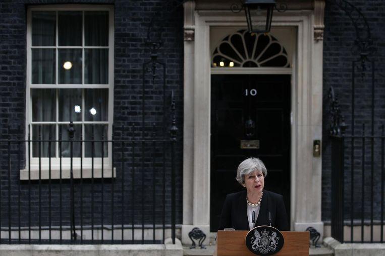 May houdt haar toesprak voor Downing Street 10. Beeld anp