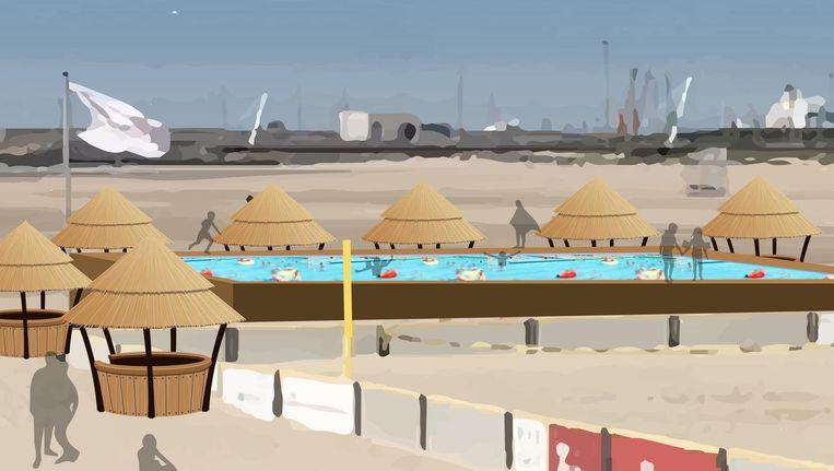 Een simulatiebeeld van een van N-VA's plannen: een zwembad op het strand dat in de zomer kan worden omgebouwd tot schaatspiste.